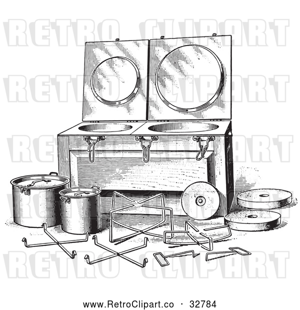 Vector Clip Art of Retro Antique Fireless Cooker and Stones in Black and White