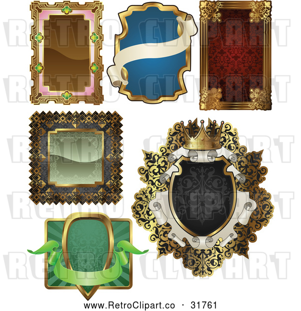 Vector Clip Art of Retro Antique Frame Designs - Digital Collage