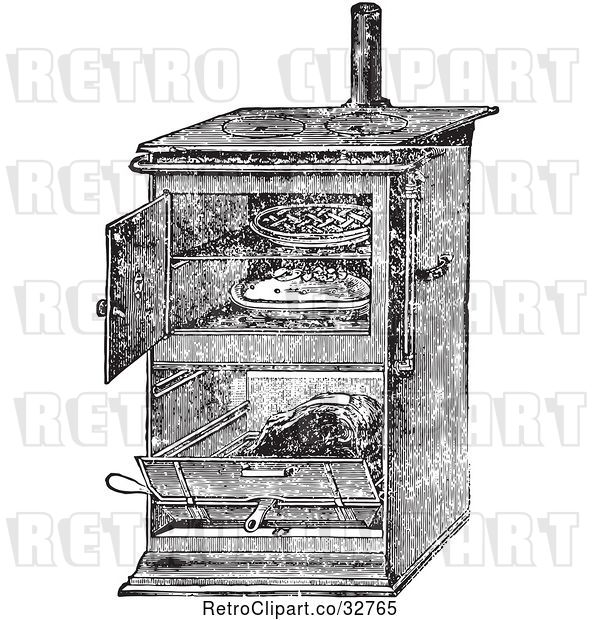 Vector Clip Art of Retro Antique Gas Cooking Stove with Food Baking in the Oven, in