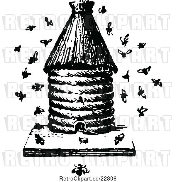 Vector Clip Art of Retro Apiology Bee Hive with a Swarm