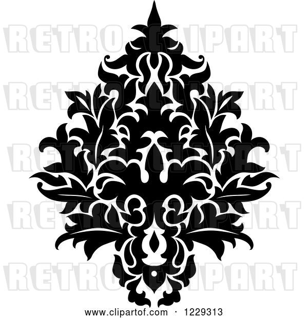 Vector Clip Art of Retro Arabesque Damask Design 14