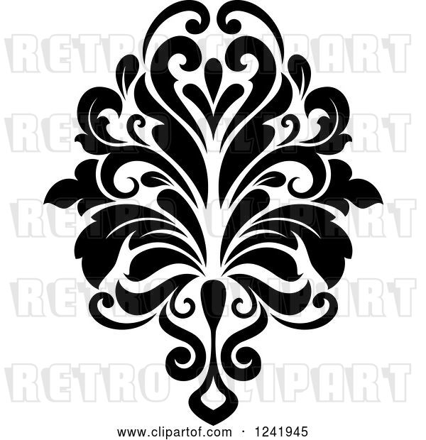 Vector Clip Art of Retro Arabesque Damask Design 16