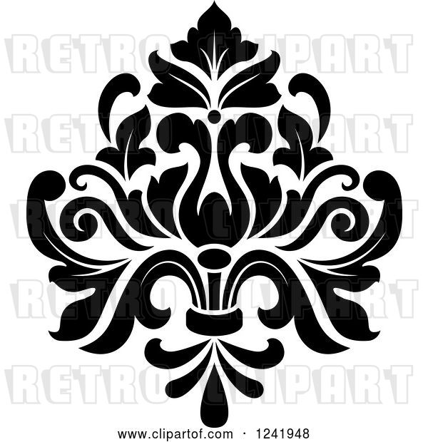 Vector Clip Art of Retro Arabesque Damask Design 19
