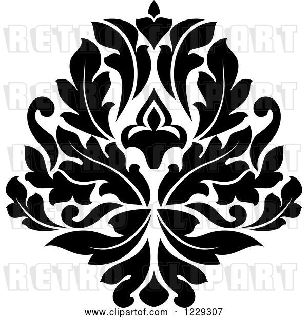 Vector Clip Art of Retro Arabesque Damask Design 7