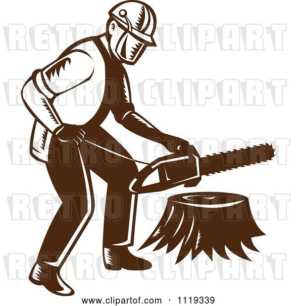 Vector Clip Art of Retro Arborist Tree Surgeon or Lumberjack over a Trunk