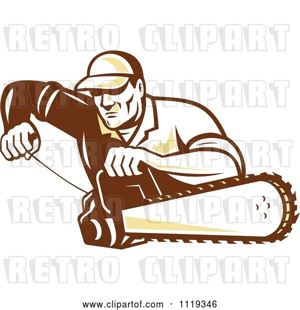 Vector Clip Art of Retro Arborist Tree Surgeon or Lumberjack Starting up a Chainsaw