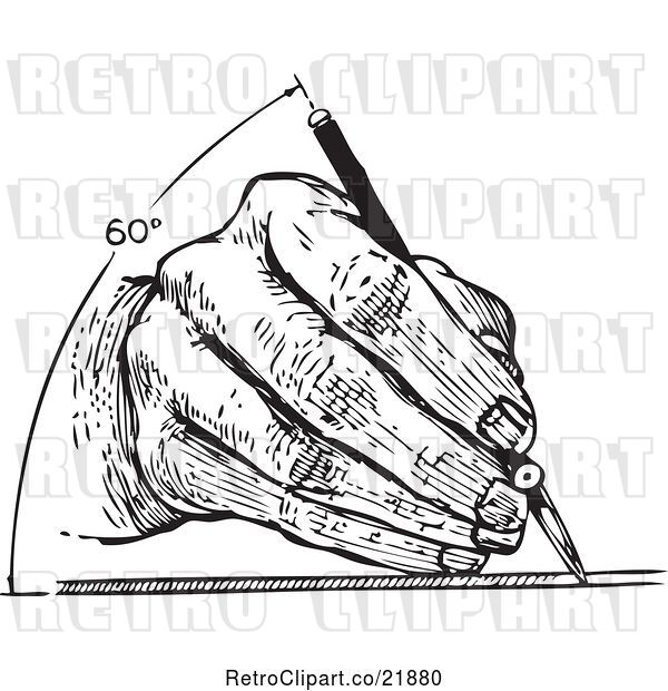 Vector Clip Art of Retro Architect's Hand Drawing at 60 Degrees