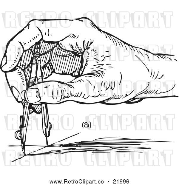 Vector Clip Art of Retro Architect's Hand Using a Compass