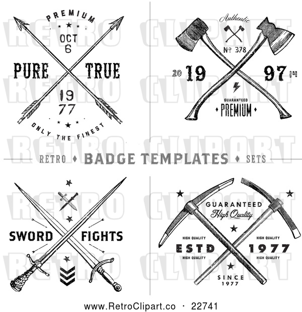 Vector Clip Art of Retro Arrow Axe and Sword Label Designs with Sample Text