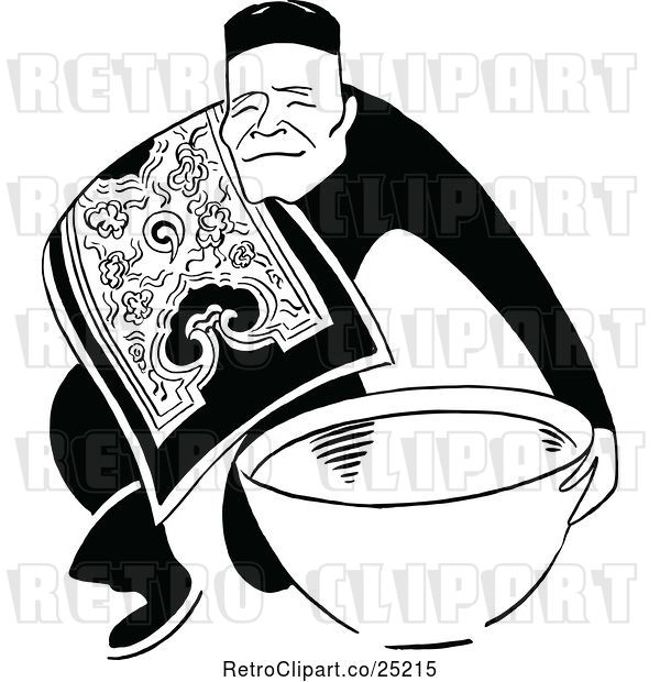 Vector Clip Art of Retro Asian Guy with a Bowl