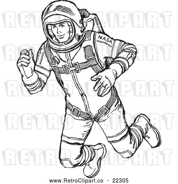 Vector Clip Art of Retro Astronaut Floating in Outer Space