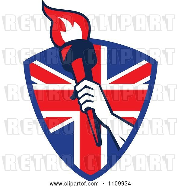Vector Clip Art of Retro Athlete Holding up a Flaming Torch over a British Union Jack Flag Shield