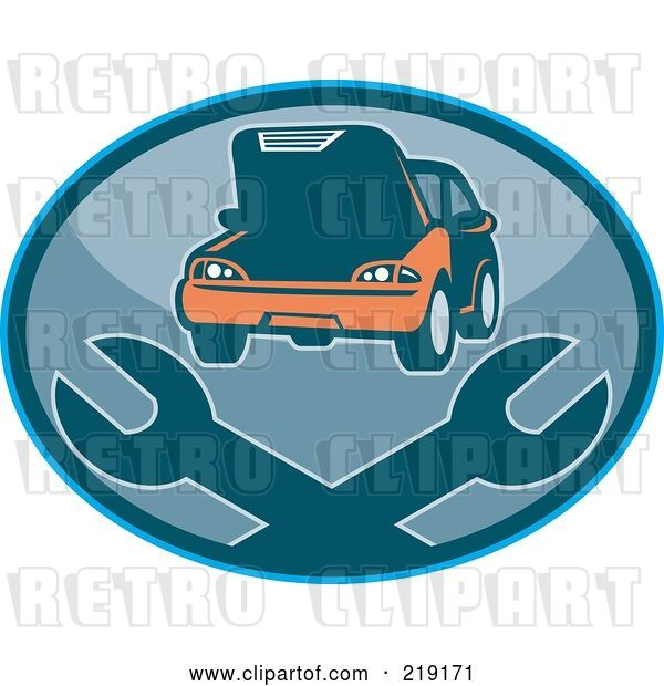 Vector Clip Art of Retro Auto Repair Logo with Wrenches