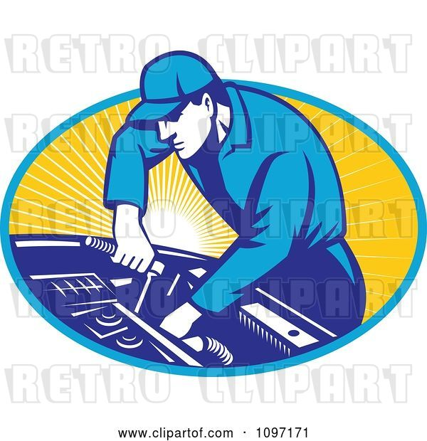Vector Clip Art of Retro Automobile Mechanic Using a Socket Wrench on a Car Engine