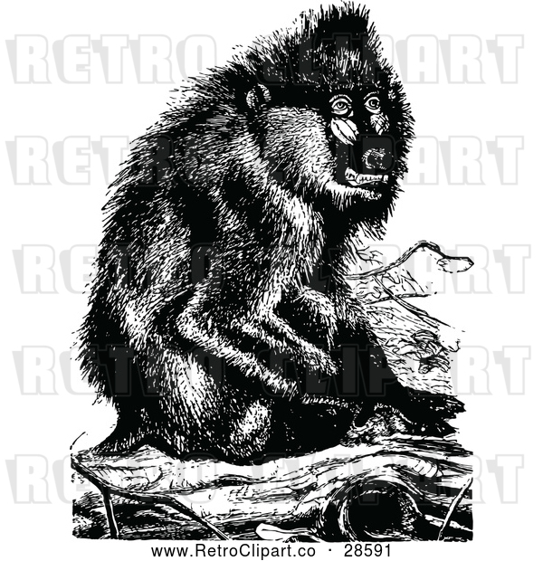 Vector Clip Art of Retro Baboon Monkey Sitting on a Log