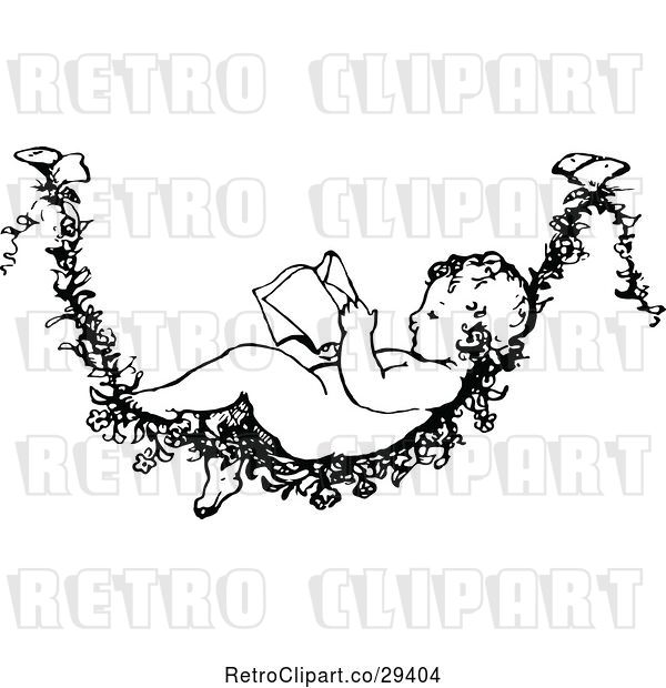 Vector Clip Art of Retro Baby Reading on a Flower Vine