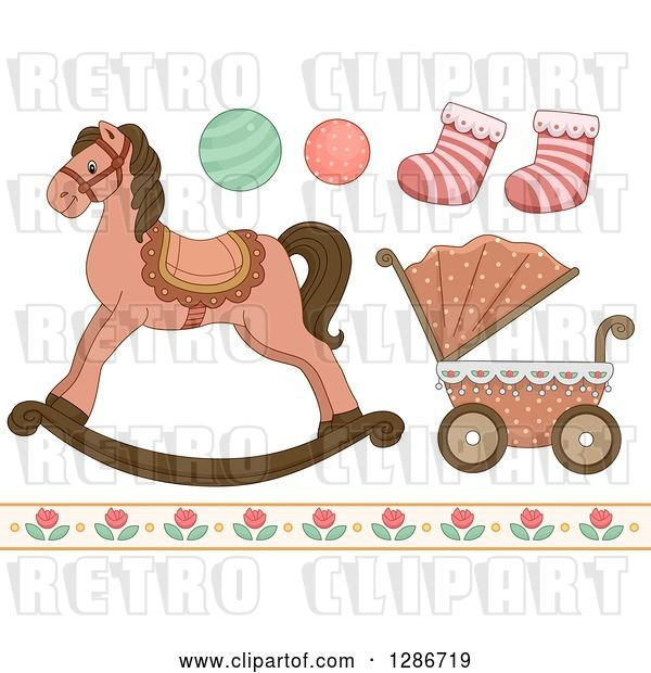 Vector Clip Art of Retro Baby Toys, Socks, Floral Border, a Carriage and Rocking Horse