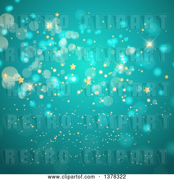 Vector Clip Art of Retro Background of Gold Stars and Bokeh Flares on Turquoise