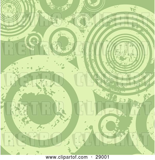 Vector Clip Art of Retro Background of Grungy Green Peeling Circles