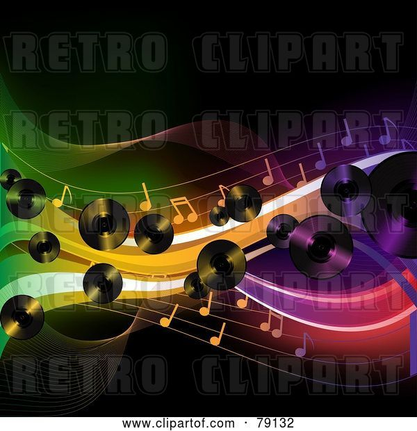 Vector Clip Art of Retro Background of Lp Records, Music Notes and Colorful Waves over Black