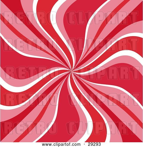 Vector Clip Art of Retro Background of Red, Pink and White Swirls