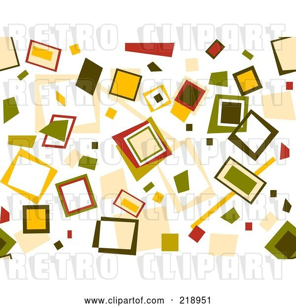 Vector Clip Art of Retro Background of Scattered Squares on White