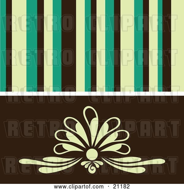 Vector Clip Art of Retro Background of Yellow, Green and Black Stipes over a Floral Design