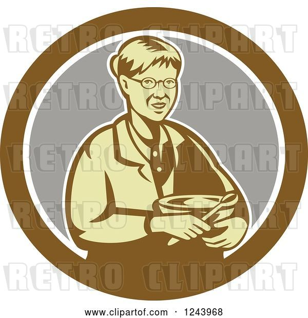 Vector Clip Art of Retro Baking Granny Holding a Mixing Bowl in a Circle