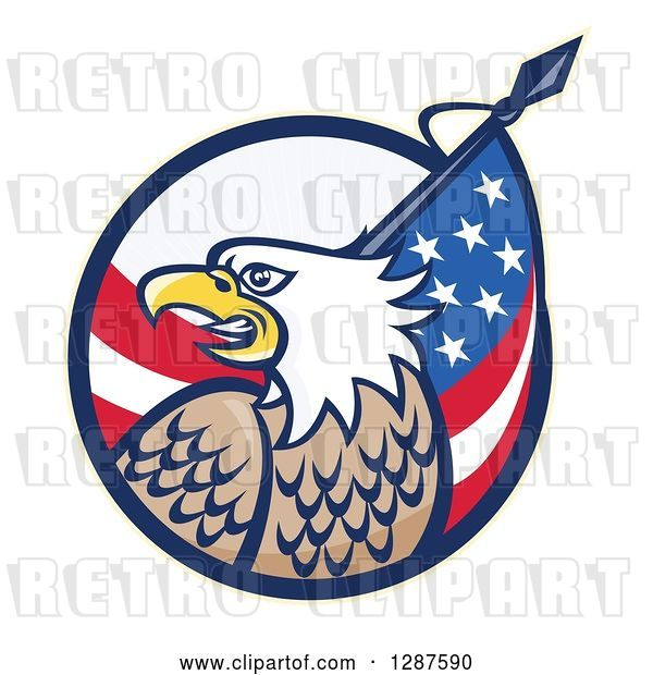 Vector Clip Art of Retro Bald Eagle and American Flag Emerging from a Circle