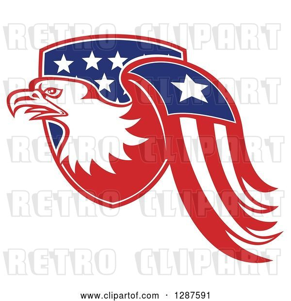 Vector Clip Art of Retro Bald Eagle and American Flag Emerging from a Shield
