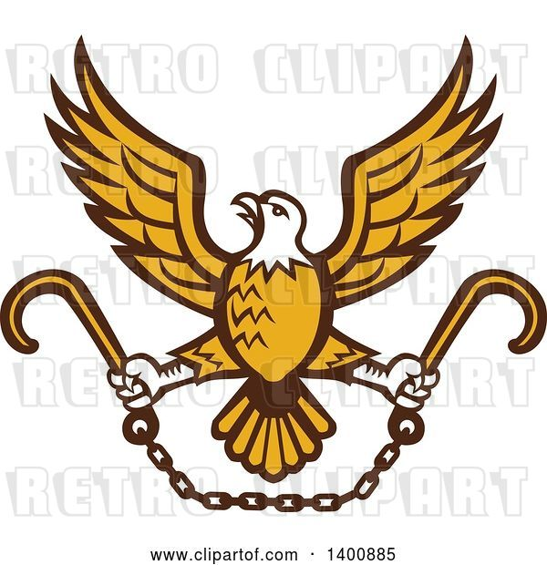 Vector Clip Art of Retro Bald Eagle Flying with a Chain and Towing J Hooks