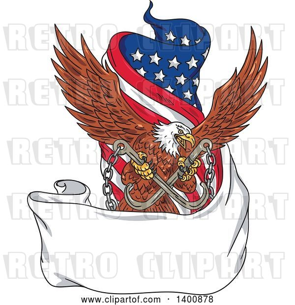 Vector Clip Art of Retro Bald Eagle Flying with Towing J Hooks over a Blank Ribbon Banner and American Flag