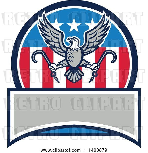 Vector Clip Art of Retro Bald Eagle Flying with Towing J Hooks over an American Circle with a Blank Banner