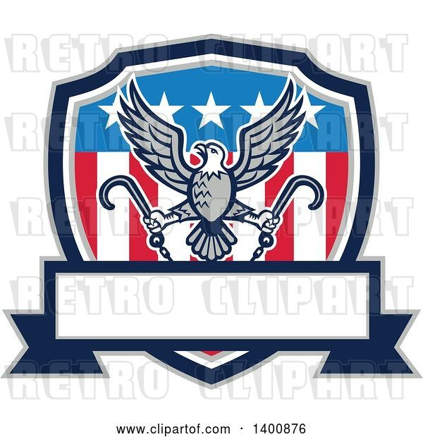 Vector Clip Art of Retro Bald Eagle Flying with Towing J Hooks over an American Shield with a Blank Banner