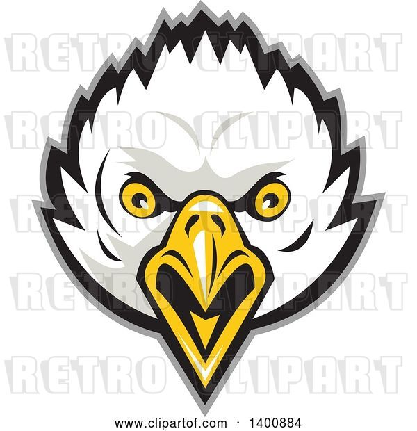Vector Clip Art of Retro Bald Eagle Head