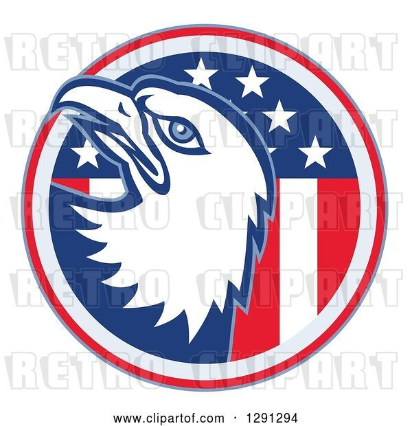 Vector Clip Art of Retro Bald Eagle Head Emerging from an American Flag Circle