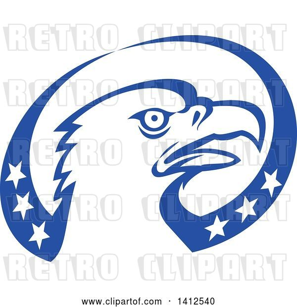 Vector Clip Art of Retro Bald Eagle Head in a Blue and White American Themed Oval