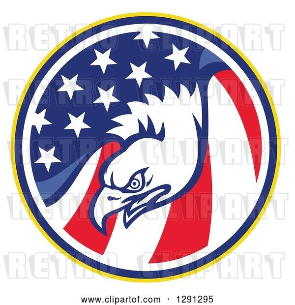 Vector Clip Art of Retro Bald Eagle Head in a USA American Flag Circle