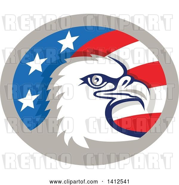 Vector Clip Art of Retro Bald Eagle Head in an American Themed Oval