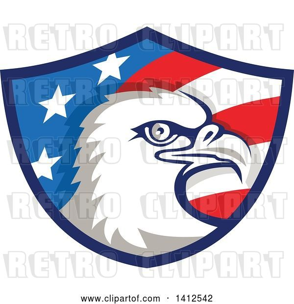 Vector Clip Art of Retro Bald Eagle Head in an American Themed Shield