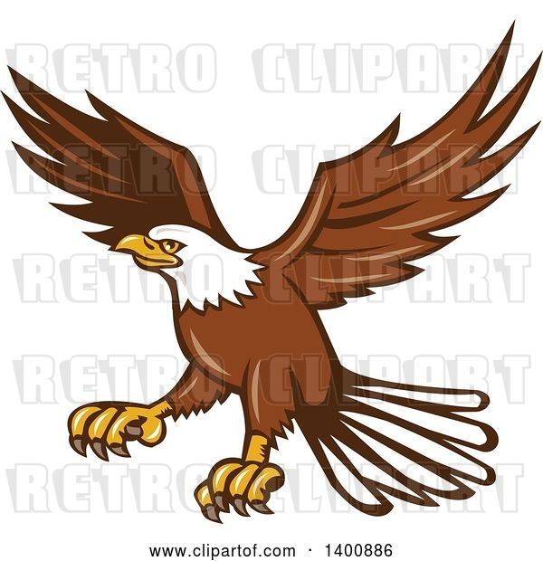 Vector Clip Art of Retro Bald Eagle in Flight