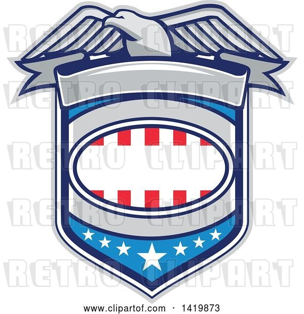 Vector Clip Art of Retro Bald Eagle over an American Shield