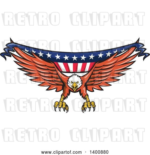 Vector Clip Art of Retro Bald Eagle Swooping with an American Flag Banner