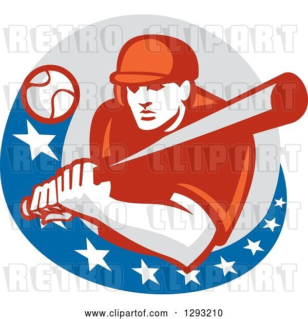 Vector Clip Art of Retro Ball Flying at a Male Baseball Player Batting Inside an American Circle