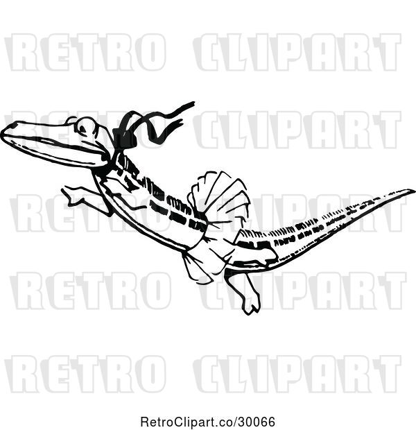 Vector Clip Art of Retro Ballerina Crocodile Dancing