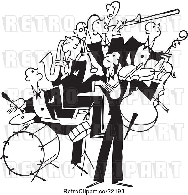 Vector Clip Art of Retro Band of Bass, Drum, Sax and Violin Players