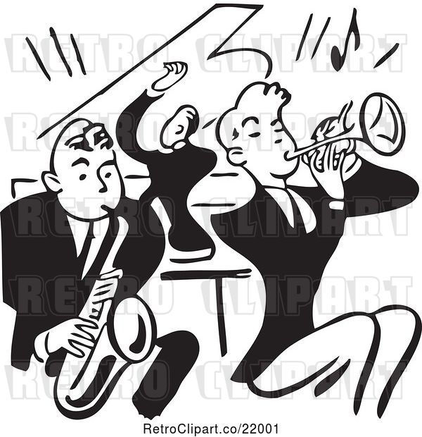 Vector Clip Art of Retro Band of Men Playing a Sax, Piano and Trumpet