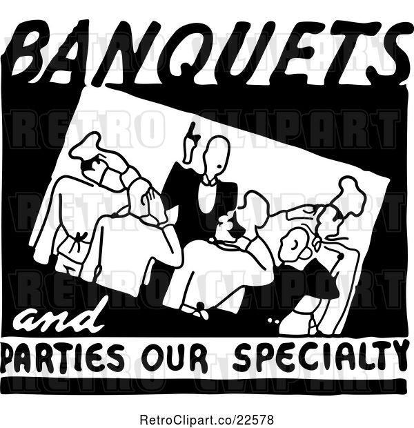 Vector Clip Art of Retro Banquets and Parties Our Specialty Food Service Sign
