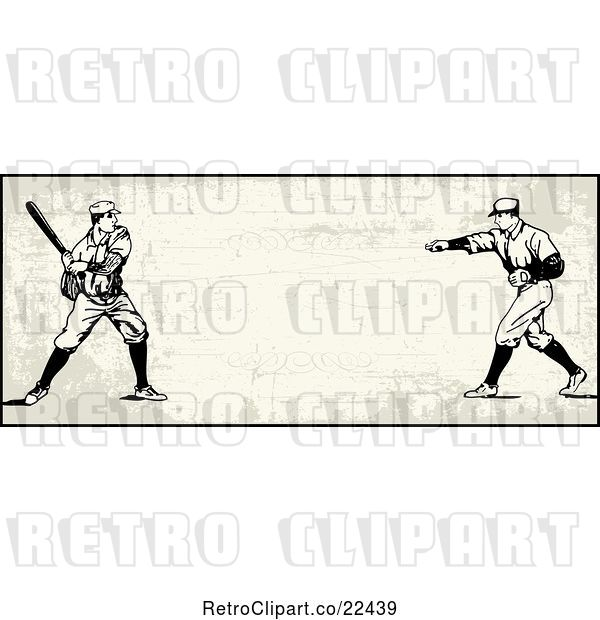 Vector Clip Art of Retro Baseball Batter and Pitcher Banner over Tan with Copyspace