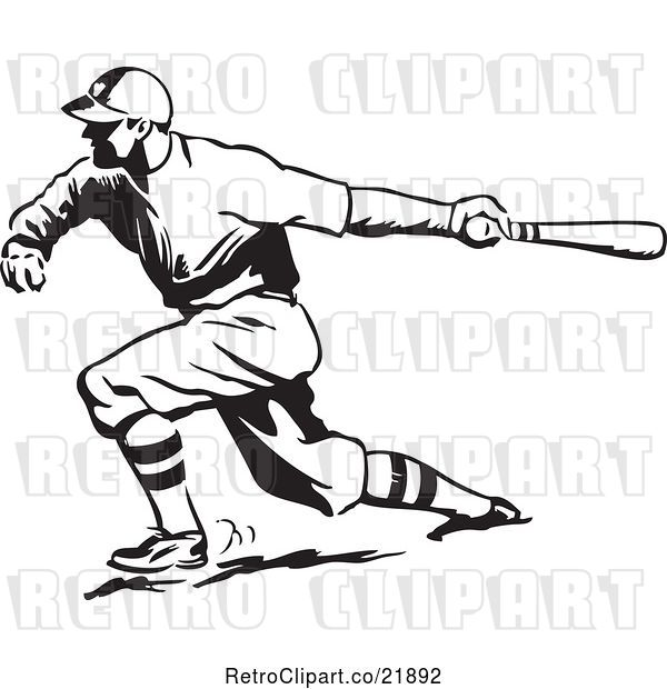 Vector Clip Art of Retro Baseball Player Batting